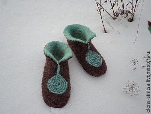 """Обувь ручной работы. Ярмарка Мастеров - ручная работа. Купить Тапочки женские валяные """"Спираль"""". Handmade. Комбинированный"""