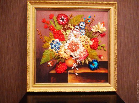 Картины цветов ручной работы. Ярмарка Мастеров - ручная работа. Купить Вышивка лентами Букет. Handmade. Комбинированный, картина
