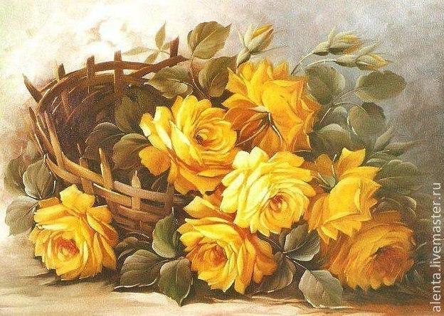 Купить Принт. Желтые розы.