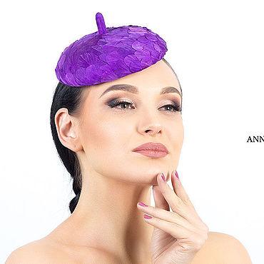 Аксессуары ручной работы. Ярмарка Мастеров - ручная работа Шляпы: Вечерняя шляпка из перьев фиолетового цвета. Handmade.
