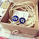 Серьги ручной работы. Серьги с цветами невесты. ru4kami-ru4kami. Интернет-магазин Ярмарка Мастеров. Синие серьги, живые цветы