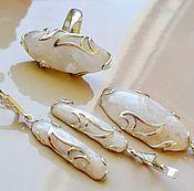 Украшения handmade. Livemaster - original item Set with moonstone (plagioclase). Handmade.