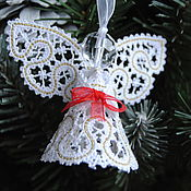 Подарки к праздникам handmade. Livemaster - original item Christmas angel with red bow 2. Handmade.