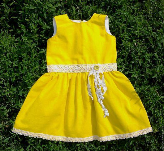 """Одежда для девочек, ручной работы. Ярмарка Мастеров - ручная работа. Купить """"Солнечное платьице"""" из хлопка в стиле бохо.. Handmade. Желтый"""