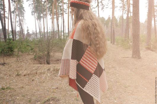 Пончо ручной работы. Ярмарка Мастеров - ручная работа. Купить Вязаное пончо в стиле печворк. Handmade. Комбинированный, пончо из шерсти