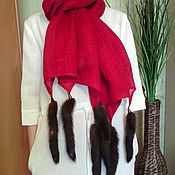 Аксессуары handmade. Livemaster - original item linen scarf with tails mink. Handmade.