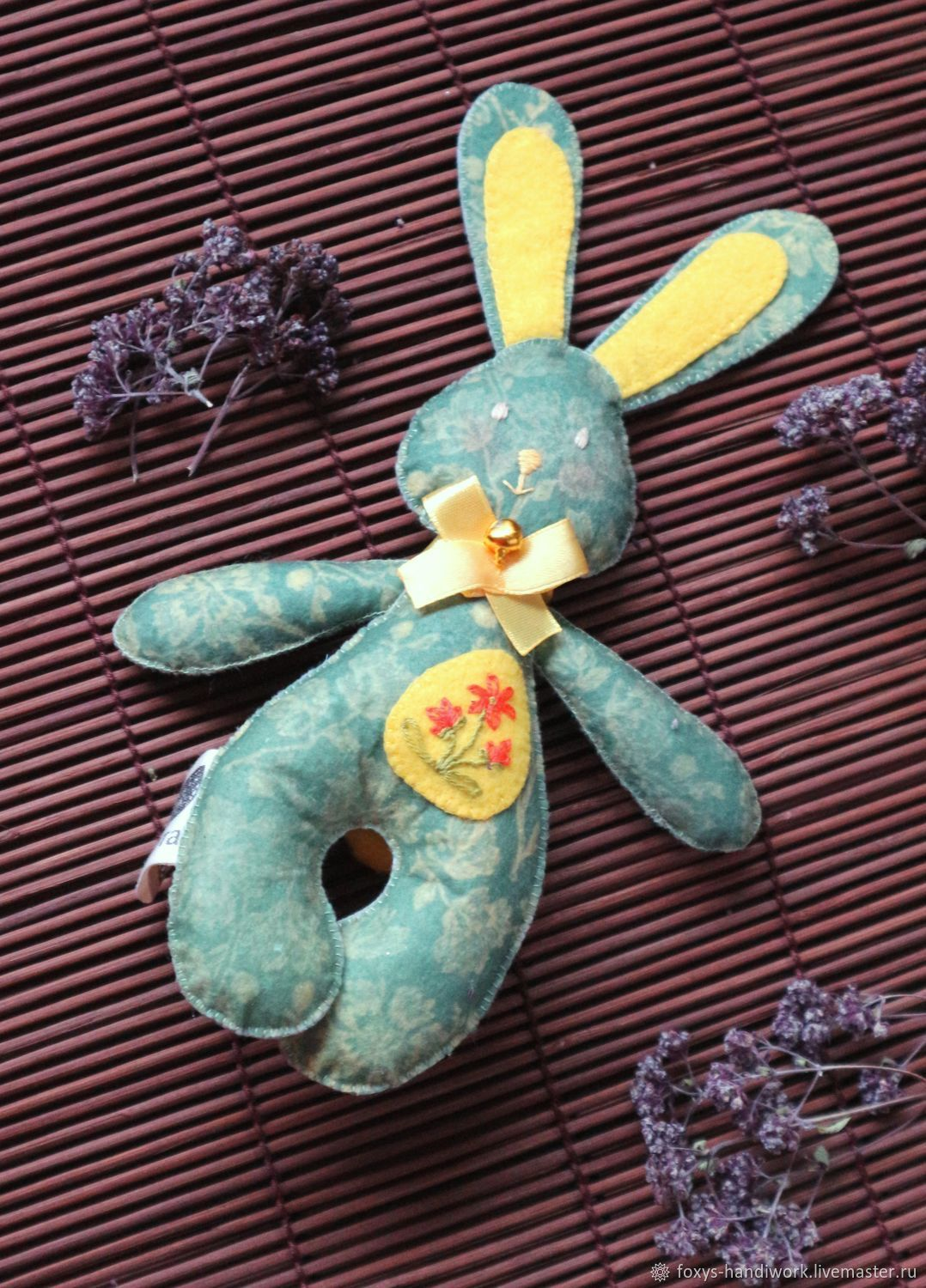 The Easter Bunny out of felt with a floral print and hand embroidery, Stuffed Toys, Tula,  Фото №1