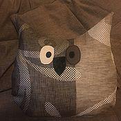 Слова ручной работы. Ярмарка Мастеров - ручная работа Подушки из ткани, подушка, сова, аппликация, декор. Handmade.