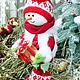 Новый год 2017 ручной работы. Снеговик - помощник Деда Мороза. Марина Нелипа. Интернет-магазин Ярмарка Мастеров. год овечки, снеговичок
