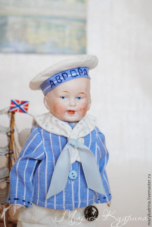Винтажные куклы и игрушки. Ярмарка Мастеров - ручная работа. Купить Антикварная кукла Мальчик-морячок. (Sailor boy). Handmade. Голубой