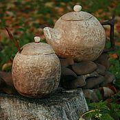 Посуда ручной работы. Ярмарка Мастеров - ручная работа Чайный набор. Чайник и сахарница. Handmade.