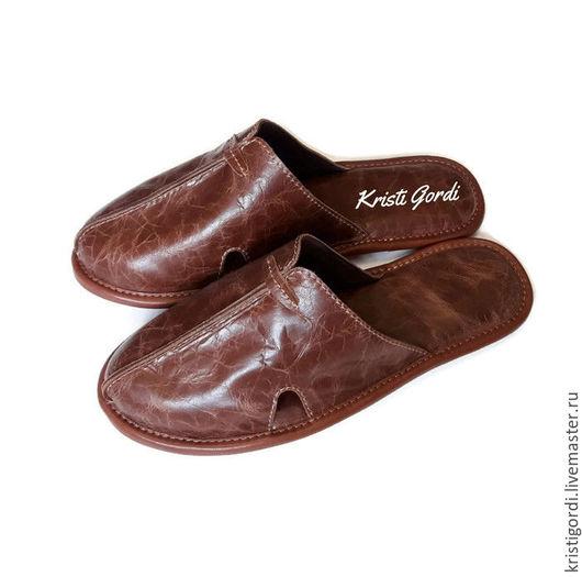 Обувь ручной работы. Ярмарка Мастеров - ручная работа. Купить Мужские кожаные тапки М-3 браун. Handmade.