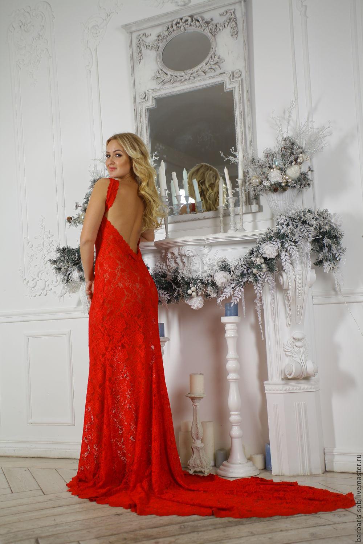 54ece96932e Платья ручной работы. Ярмарка Мастеров - ручная работа. Купить Длинное  красное платье из кружева ...