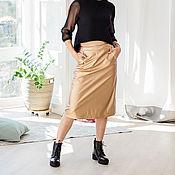 Одежда handmade. Livemaster - original item A - line skirt MIDI length Golden brown.. Handmade.