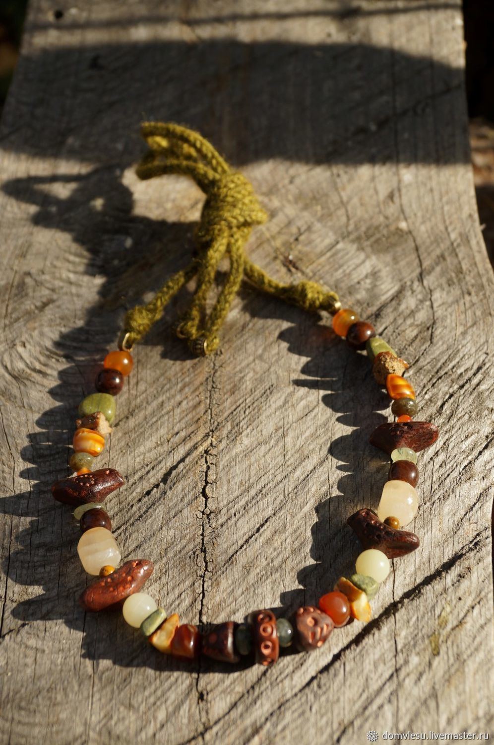 Double row necklace with agate and birds, Beads2, Ramon,  Фото №1