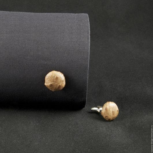 Запонки ручной работы. Ярмарка Мастеров - ручная работа. Купить Мужские запонки из натуральной кожи страуса. Handmade. Бежевый, Страус