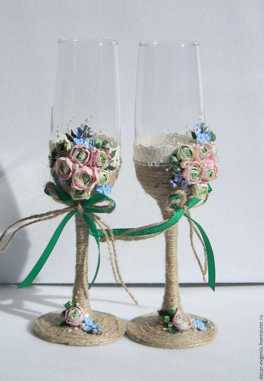 Wedding Glasses, Rustic Wedding Champagne Glasses, Toasting Flutes ...