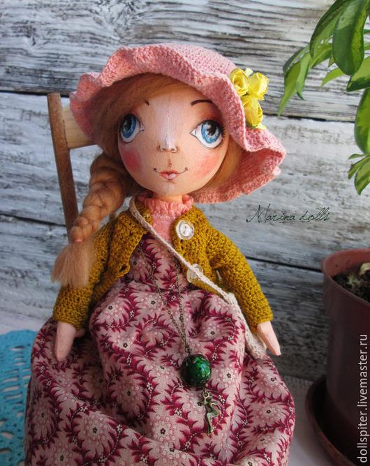 Куклы тыквоголовки ручной работы. Ярмарка Мастеров - ручная работа. Купить Текстильная кукла Анюта. Handmade. Кремовый, интерьерная кукла