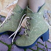 Обувь ручной работы. Ярмарка Мастеров - ручная работа Сапожки шерстяные эко Оливковые. Handmade.