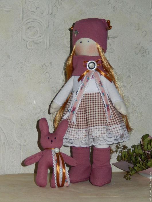 Куклы тыквоголовки ручной работы. Ярмарка Мастеров - ручная работа. Купить Кукла текстильная  в розовом и цвете фуксии. Handmade. Фуксия