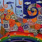 """Картины и панно ручной работы. Ярмарка Мастеров - ручная работа Декоративное панно """"Прогулка по радуге"""". Handmade."""