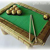 Букеты ручной работы. Ярмарка Мастеров - ручная работа Бильярдный стол из конфет ( Композиции из конфет). Handmade.