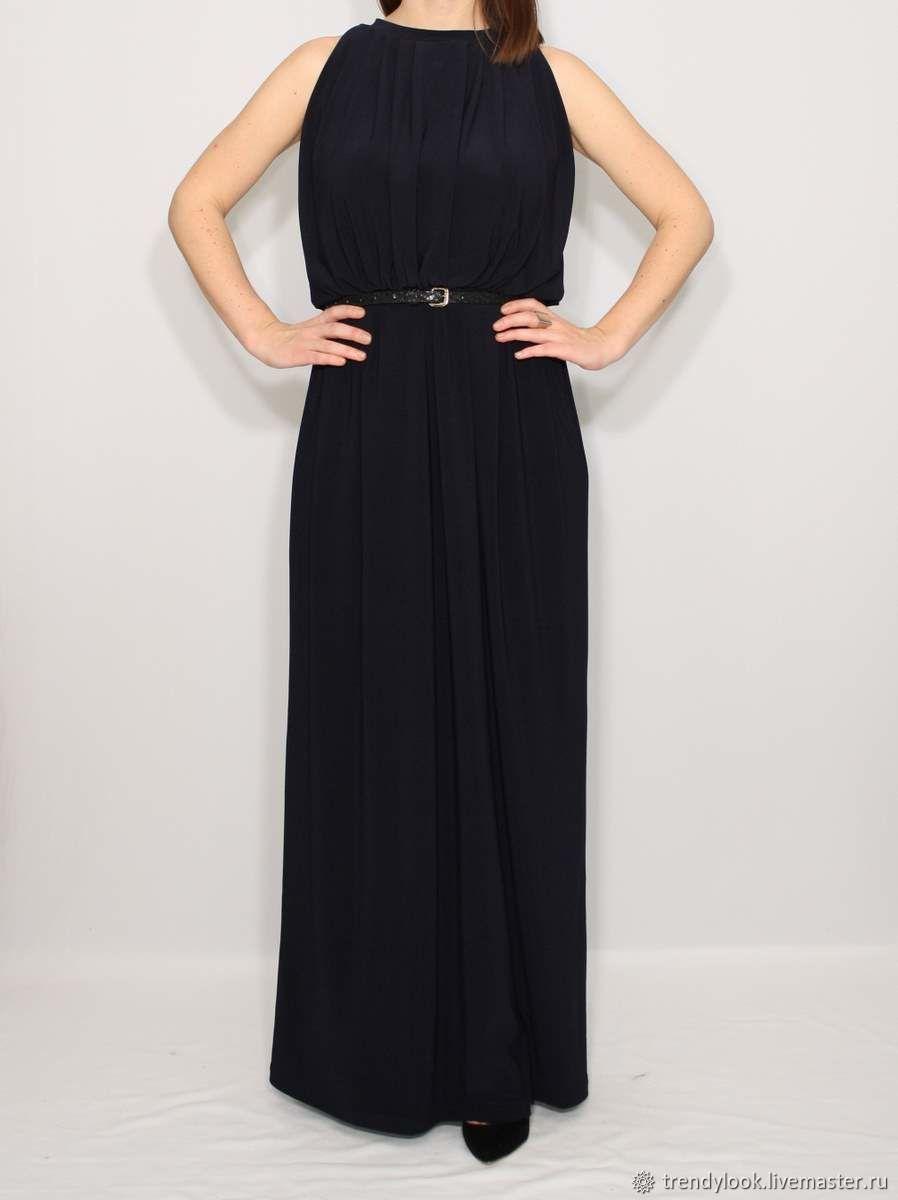 Платья ручной работы. Ярмарка Мастеров - ручная работа. Купить РАЗМЕР 46 Темно синее платье летний сарафан в пол, без рукавов. Handmade.