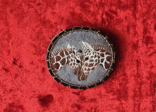 Броши ручной работы. Ярмарка Мастеров - ручная работа. Купить Жирафы. Handmade. Комбинированный, африка