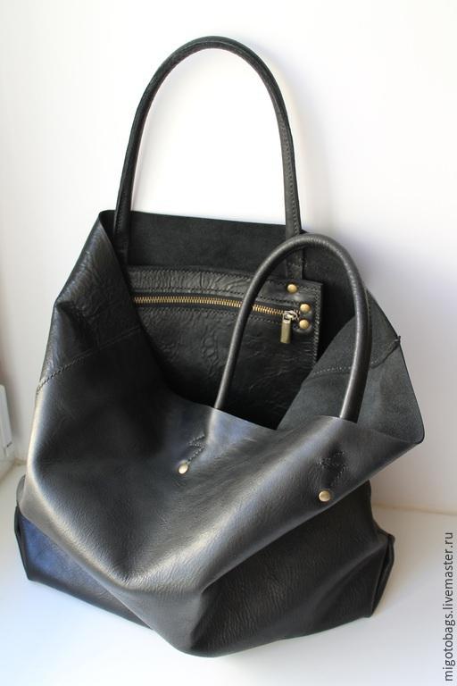 Женские сумки ручной работы. Ярмарка Мастеров - ручная работа. Купить кожаная сумка на заказ черная с карманом. Handmade. Черный