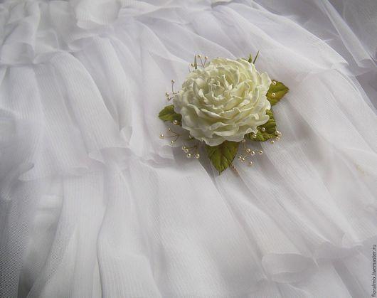 """Свадебные украшения ручной работы. Ярмарка Мастеров - ручная работа. Купить """"Муза"""" заколка. Handmade. Белый, роза в прическу"""