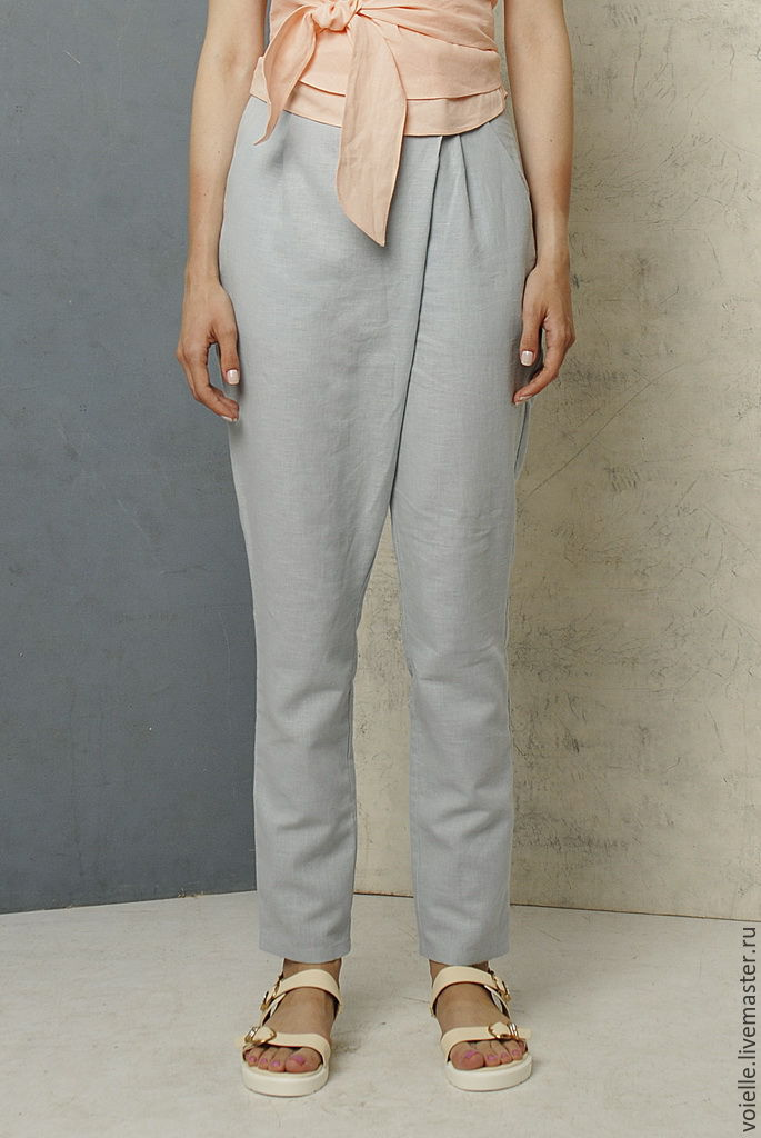 Pants light grey linen and cotton summer wrap at the waist, flared, tapered