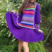 """Одежда ручной работы. Ярмарка Мастеров - ручная работа Фиолетовое  платье из шерсти""""Елизавета"""". Handmade."""
