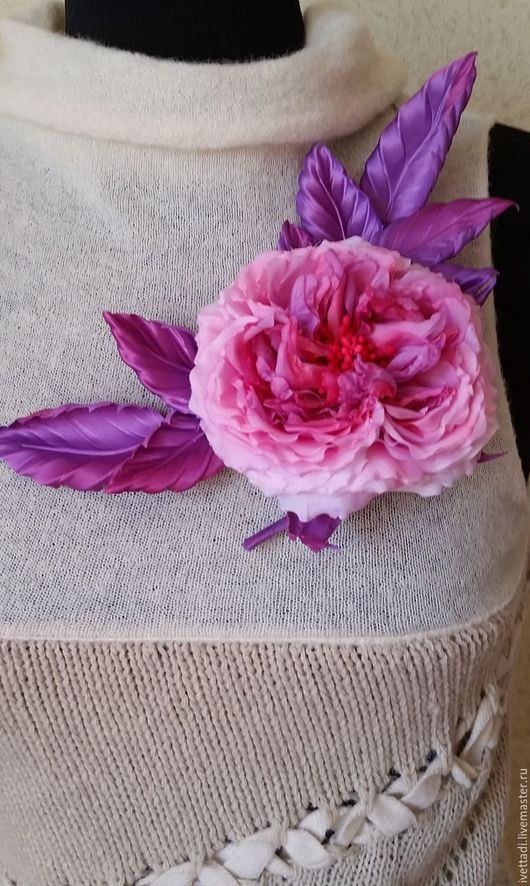 """Броши ручной работы. Ярмарка Мастеров - ручная работа. Купить Брошь """"Староанглийская роза"""". Handmade. Фиолетовый, староанглийская роза"""
