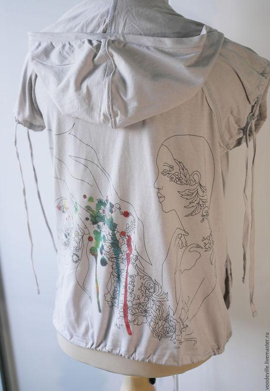 Одежда. Ярмарка Мастеров - ручная работа. Купить Жилет  с рисунком на спине. Handmade. Серый, трикотаж