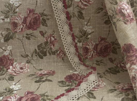Шитье ручной работы. Ярмарка Мастеров - ручная работа. Купить Ткань  льняная для штор -розы на мешковине. Handmade. Ткань, лен