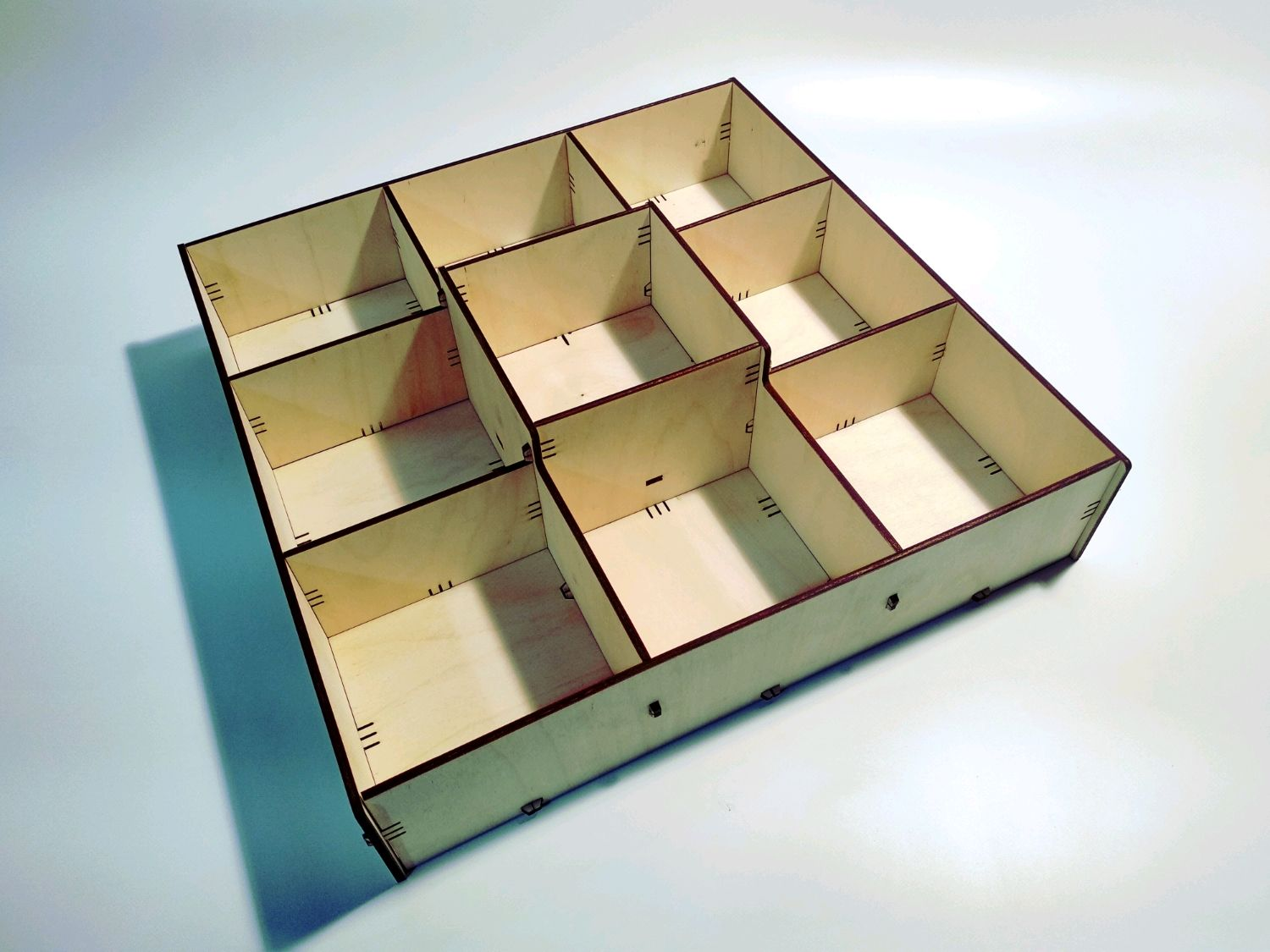 Box with cells made of plywood BOXPYR-125-75-3x3, Box1, Moscow,  Фото №1
