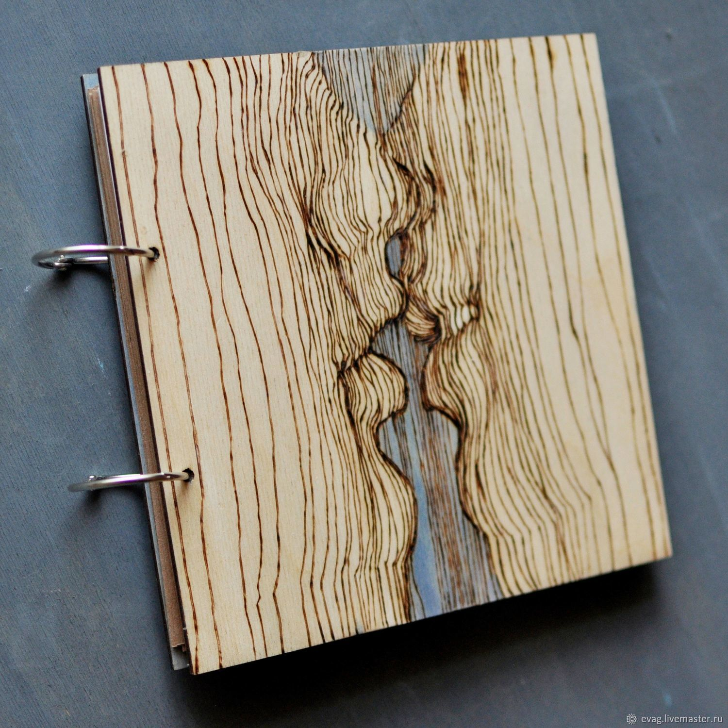 """Sketchbook wood cover 22x22sm """"Kiss"""", Sketchbooks, Moscow,  Фото №1"""