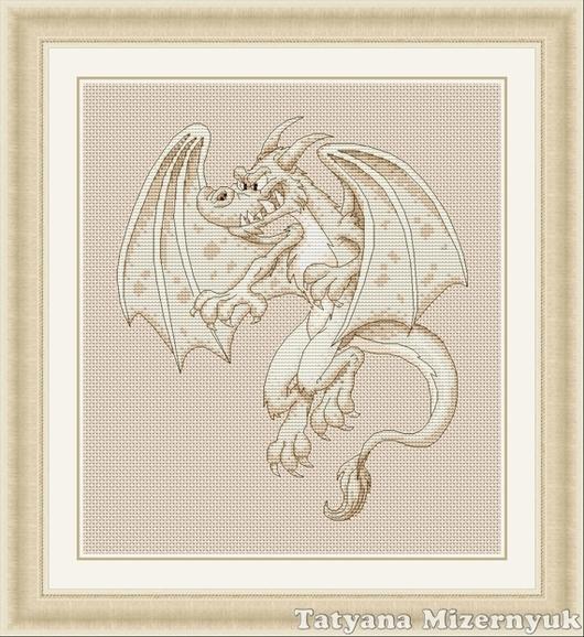 """Вышивка ручной работы. Ярмарка Мастеров - ручная работа. Купить Схема для вышивки крестиком """"Белый дракон"""". Handmade."""