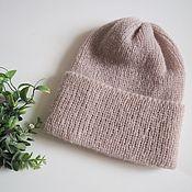 handmade. Livemaster - original item Mohair cap with lapel powdery mohair cap with elastic band. Handmade.
