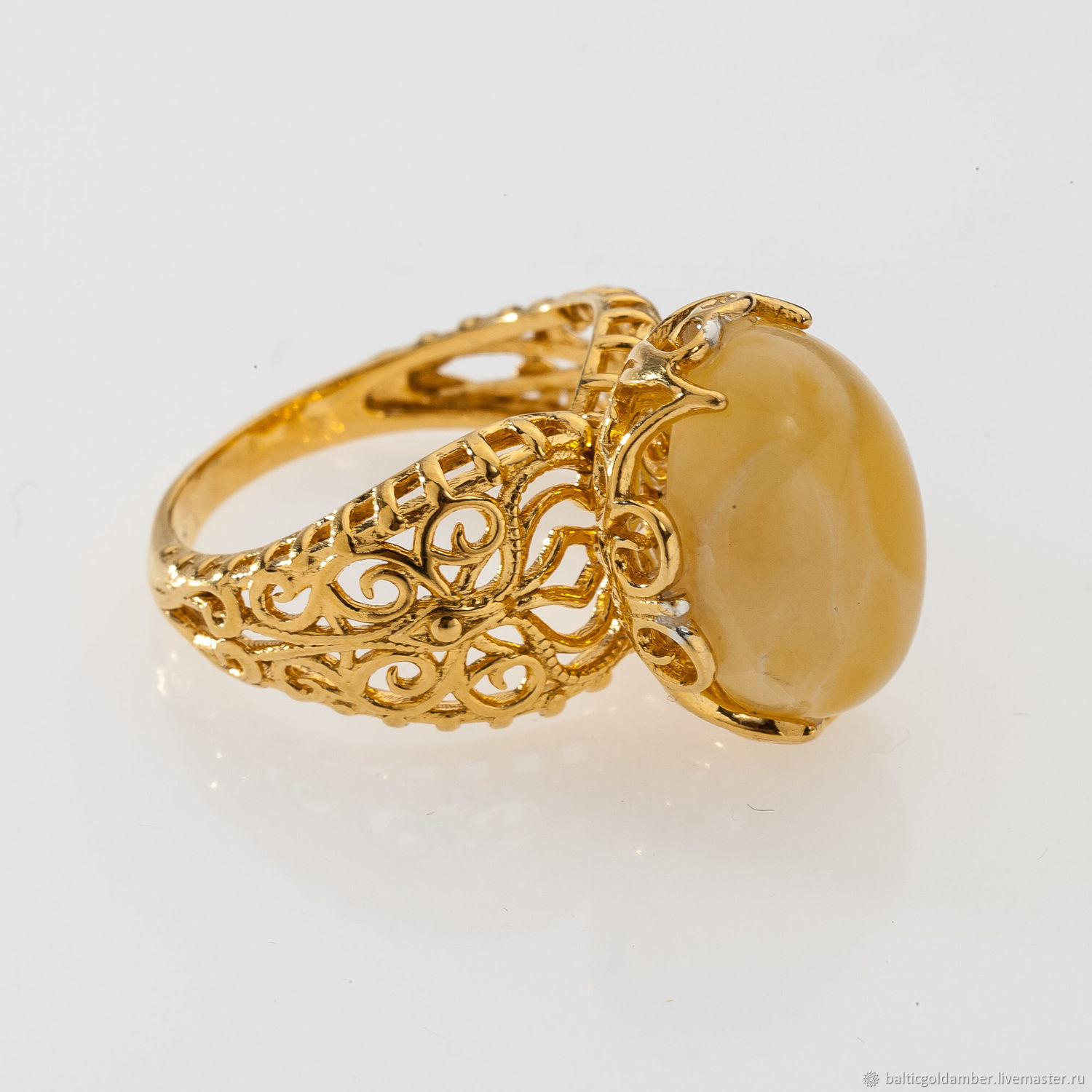 1ae85359f Rings handmade. Livemaster - handmade. Buy Gold plated ring with round Baltic  amber.