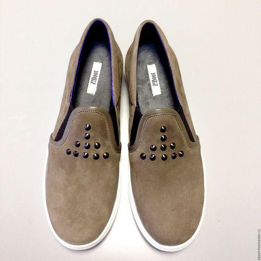 Обувь ручной работы. Ярмарка Мастеров - ручная работа. Купить Слипоны Alex. Handmade. Хаки, обувь без каблука