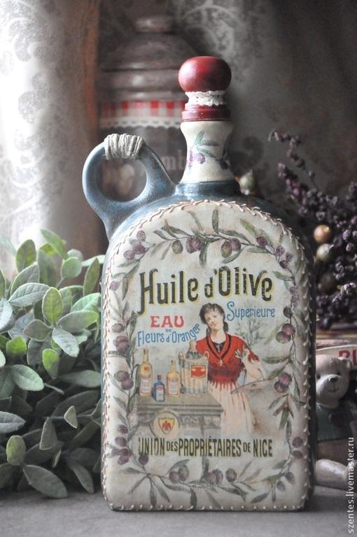 Персональные подарки ручной работы. Ярмарка Мастеров - ручная работа. Купить Бутылка для оливкового масла. Handmade. Керамика, подарок маме