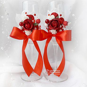 Свадебный салон ручной работы. Ярмарка Мастеров - ручная работа Свадебные бокалы с красными цветами. Handmade.