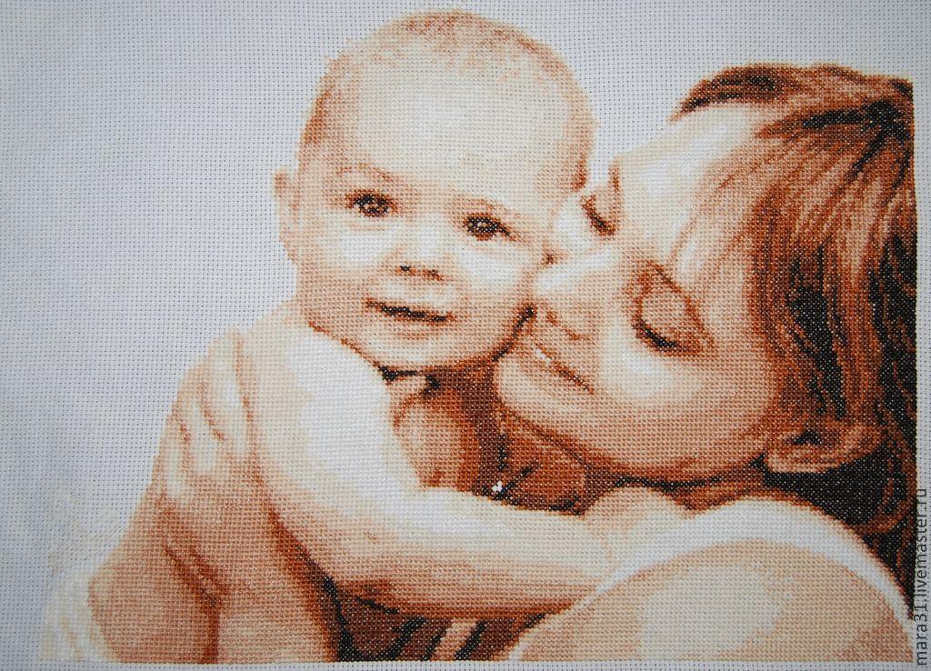 """Вышивка крестом """"Мама и малыш"""""""