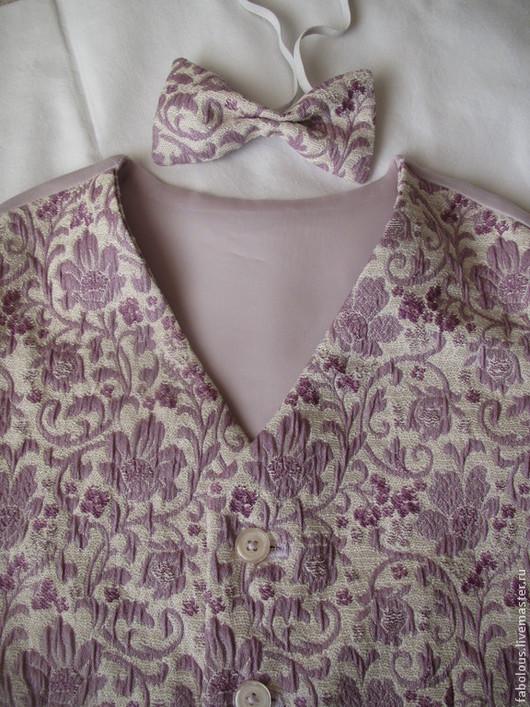 """Одежда для мальчиков, ручной работы. Ярмарка Мастеров - ручная работа. Купить Жилет """"Торжественный"""" с галстуком-бабочкой. Handmade. Орнамент, полиэстер"""