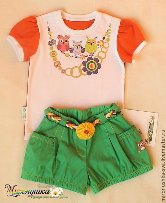 """Одежда для девочек, ручной работы. Ярмарка Мастеров - ручная работа. Купить Комплект """"Совы на ветке"""". Handmade. Зеленый, совы"""