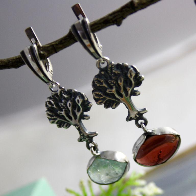 Silver, garnet, Topaz: 'Fairy forest' earrings', Earrings, Prague,  Фото №1