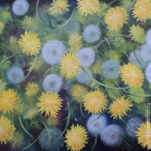 Картины цветов ручной работы. Ярмарка Мастеров - ручная работа. Купить Картина маслом 30 на 43 Одуванчики. Handmade. Желтый