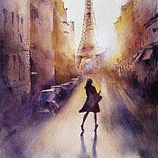 Картины и панно handmade. Livemaster - original item Watercolor painting Sunset in Paris (purple yellow cityscape). Handmade.
