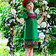 Одежда для девочек, ручной работы. Заказать Платье детское, нарядное - в славянском стиле - зеленое. 'Рюши Ксюши' (Kseniya-spb). Ярмарка Мастеров.